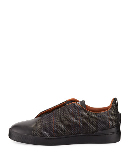 Couture Pelle Tessuta Leather Triple-Stitch Sneaker