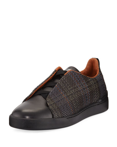 Ermenegildo Zegna Couture Pelle Tessuta Leather Triple-Stitch