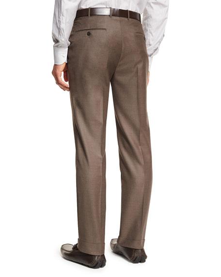 Ermenegildo Zegna Trofeo® Wool Flat-Front Trousers, Light Brown
