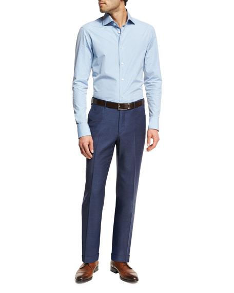 Ermenegildo Zegna Trofeo® Wool Flat-Front Trousers, Blue