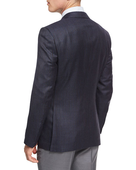 Check Wool Two-Button Sport Coat, Brown/Light Blue