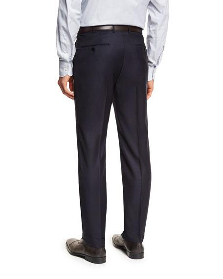 Ermenegildo Zegna Trofeo® Wool Flat-Front Trousers, Navy