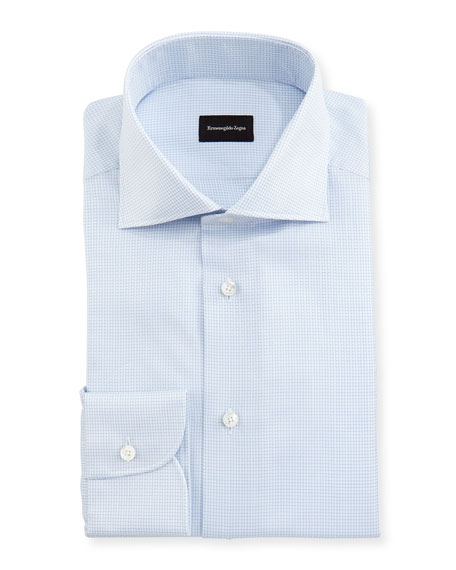 Ermenegildo Zegna Micro-Box Cotton Dress Shirt