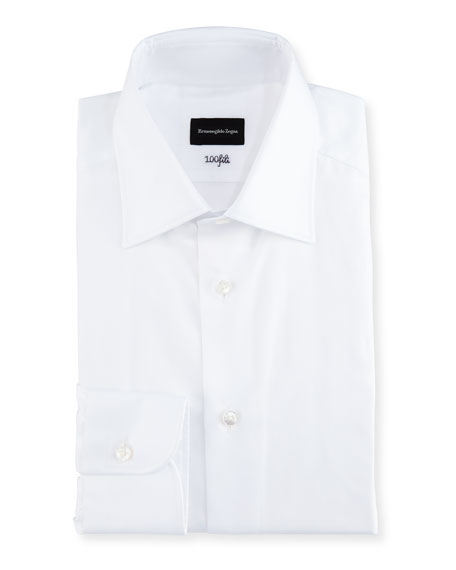 Ermenegildo Zegna 100Fili Solid Dress Shirt, White