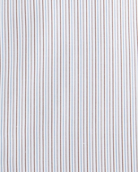 Ermenegildo Zegna Fine-Striped Cotton Dress Shirt