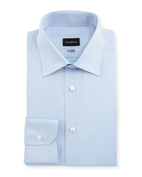 Ermenegildo Zegna 100Fili Solid Dress Shirt, Blue