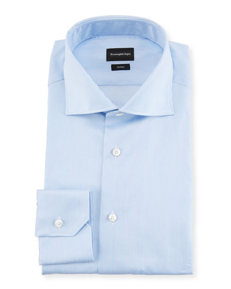 Ermenegildo Zegna Trofeo?? Narrow-Stripe Cotton Dress Shirt