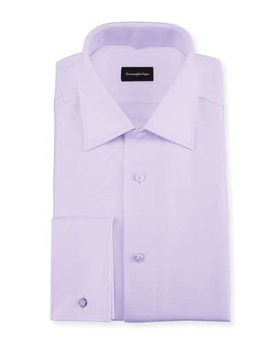 Twill Cotton French-Cuff Dress Shirt, Lavender (Purple)