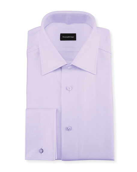 Ermenegildo Zegna Twill Cotton French-Cuff Dress Shirt, Lavender