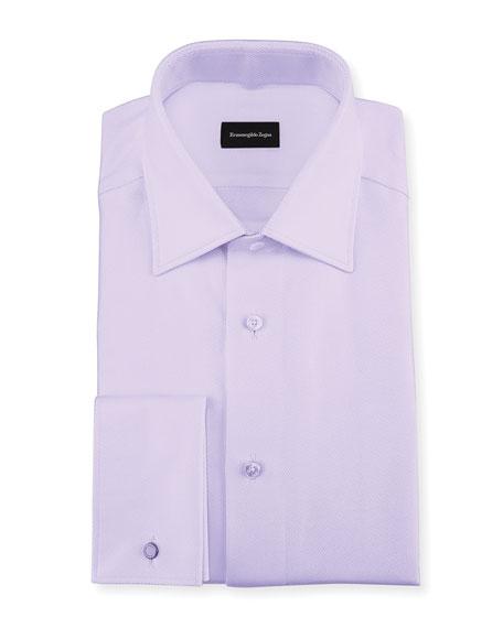 Ermenegildo Zegna Twill Cotton French-Cuff Dress Shirt, Lavender