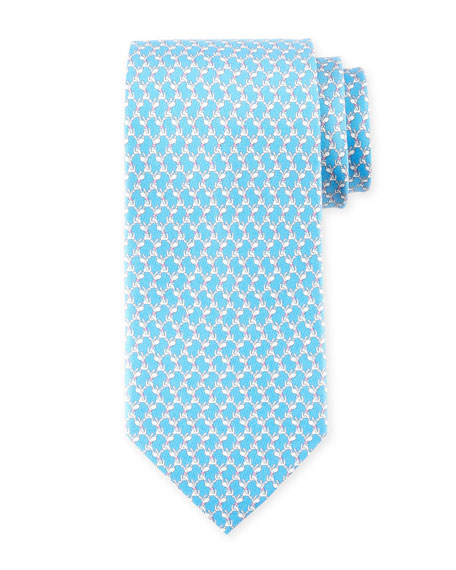 Salvatore Ferragamo Dog-Print Silk Twill Tie