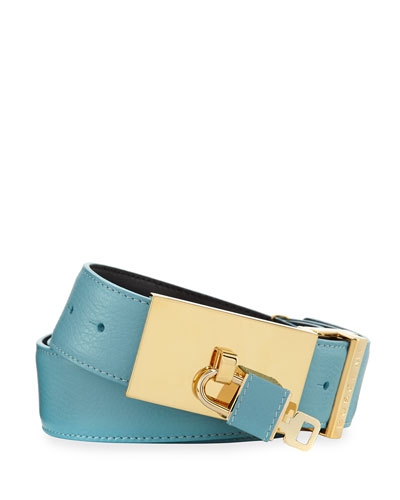 designer belt sale men 25jq  100mm Padlock-Buckle Leather Belt, Oxygen Blue