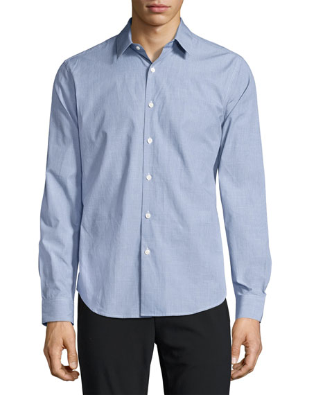 Theory Sylvain C. Combo Check Sport Shirt, Blue