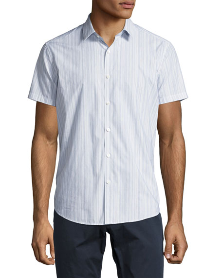 Zack S. Linen-Cotton Multi-Stripe Short-Sleeve Sport Shirt, Blue