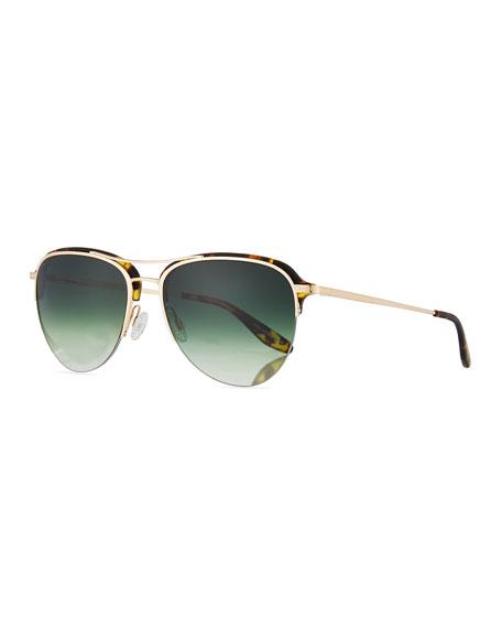 Barton Perreira Airman Half-Rim Aviator Sunglasses, Matte Heroine