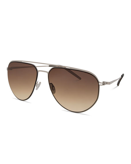 Barton Perreira Men's B010 Aviator Sunglasses, Camo Gray/Oak