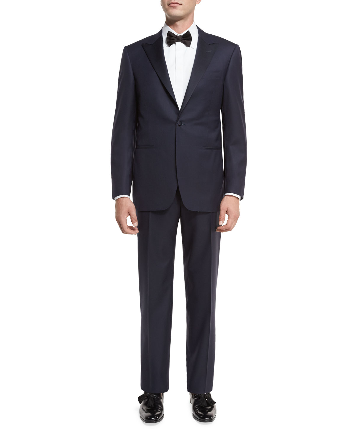 Canali Super 150s Wool Tuxedo Suit, Navy