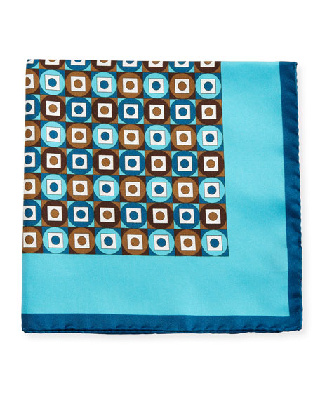 Kiton Geometric Printed Silk Pocket Square
