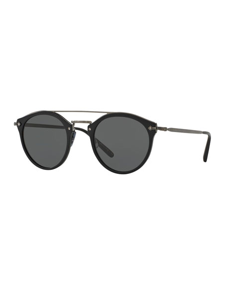 Remick Mirrored Brow-Bar Sunglasses, Semi Matte Black/Antique Pewter