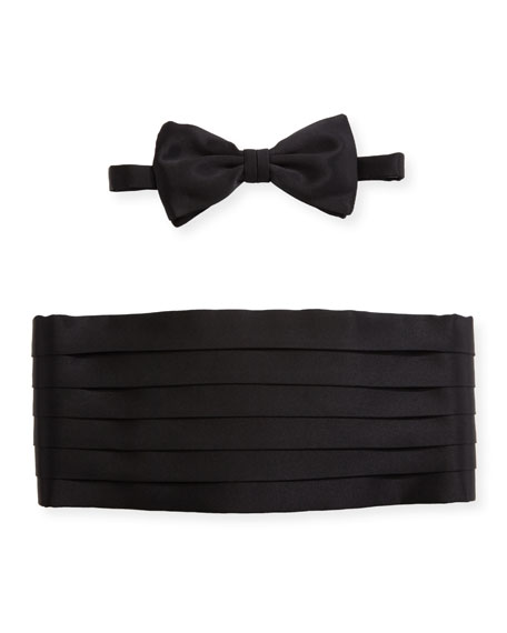 Brioni Satin Cummerbund & Bow Tie Set, Black