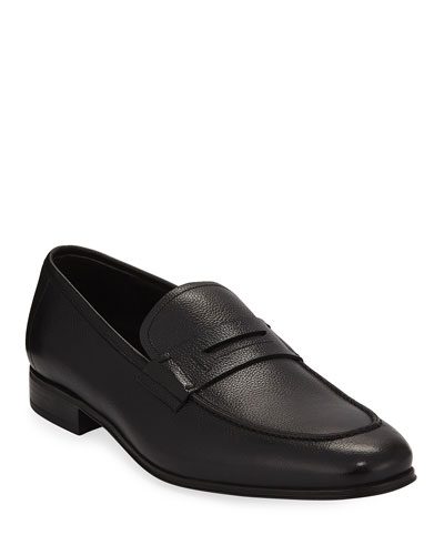 Textured Calfskin Penny Loafer, Black