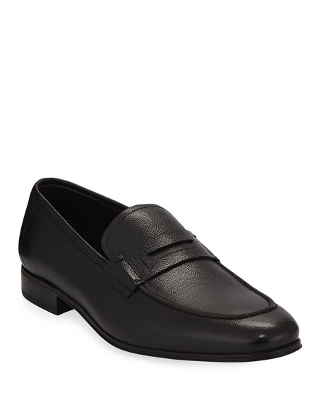Salvatore Ferragamo Men's Textured Calfskin Penny Loafer, Black