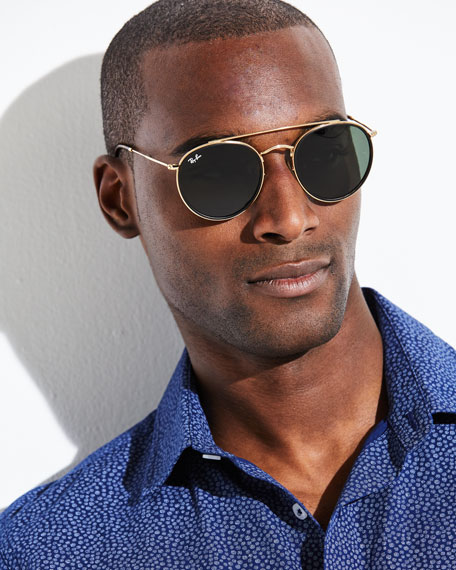 ray ban men 39 s rb3647 round double bridge sunglasses neiman marcus. Black Bedroom Furniture Sets. Home Design Ideas
