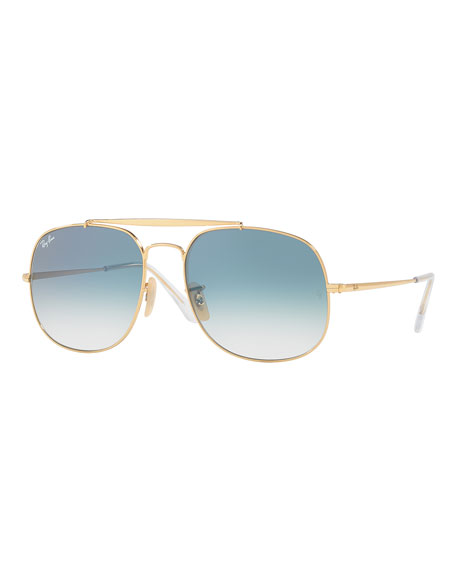 Ray-Ban The General Aviator Sunglasses, Golden/Light Blue