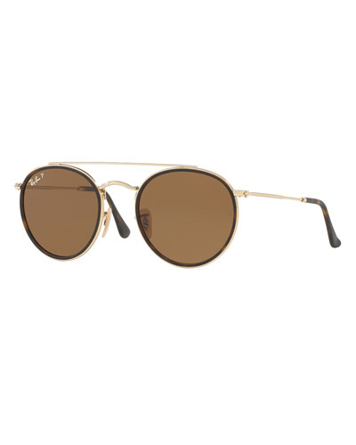 Ray-Ban Men's RB3647 Polarized Round Double-Bridge Sunglasses, Gold/Brown Classic