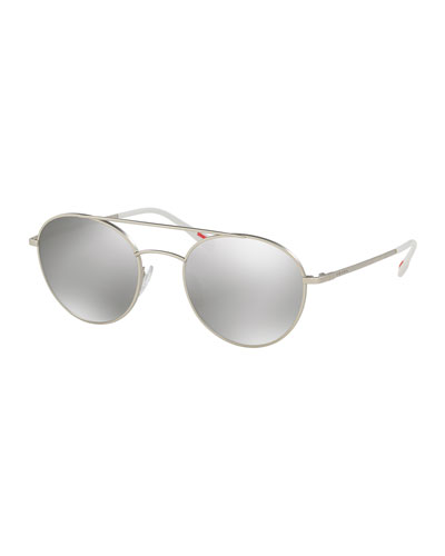 Linea Rossa Mirrored Round Aviator Sunglasses, Silver