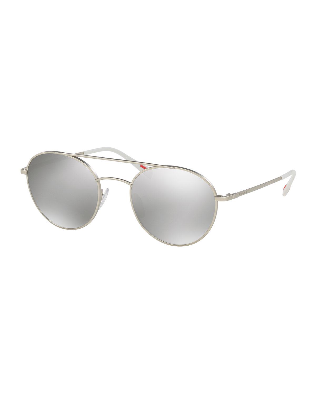 b50f41d867 Prada Men s Mirrored Round Phantos Aviator Sunglasses