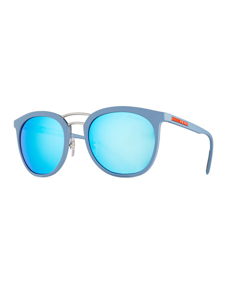 Prada Linea Rossa Men's Double-Bridge Phantos Sunglasses, Blue