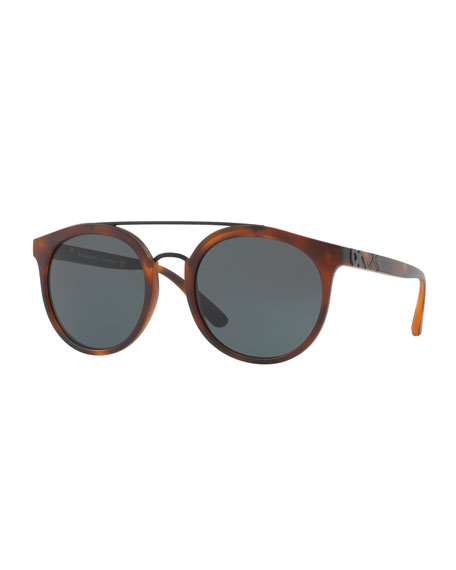 Top Bar Round Frame Sunglasses, Brown