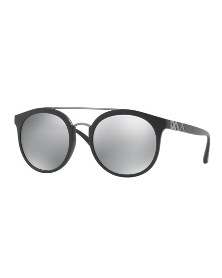 Burberry Top Bar Polarized Round Frame Sunglasses, Black