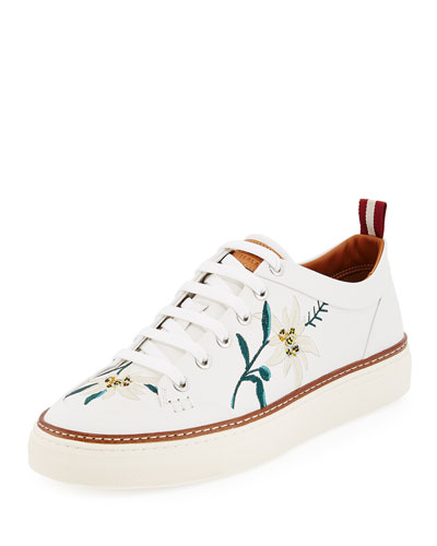 Hernando Men's Floral-Embroidered Leather Low-Top Sneaker, White