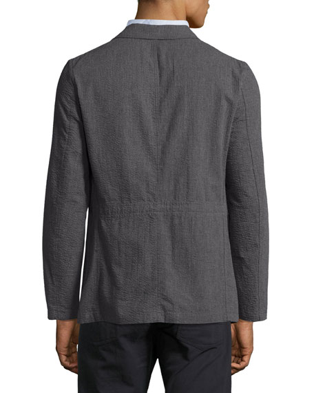 Luther Seersucker Blazer Jacket, Charcoal