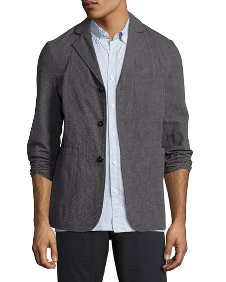 Billy Reid Luther Seersucker Blazer Jacket, Charcoal