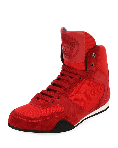 Versace Medusa Mesh & Suede Wrestling Sneaker, Red
