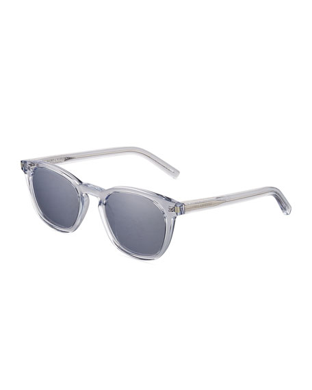 Saint Laurent Classic 28 Mirrored Square Acetate Sunglasses,