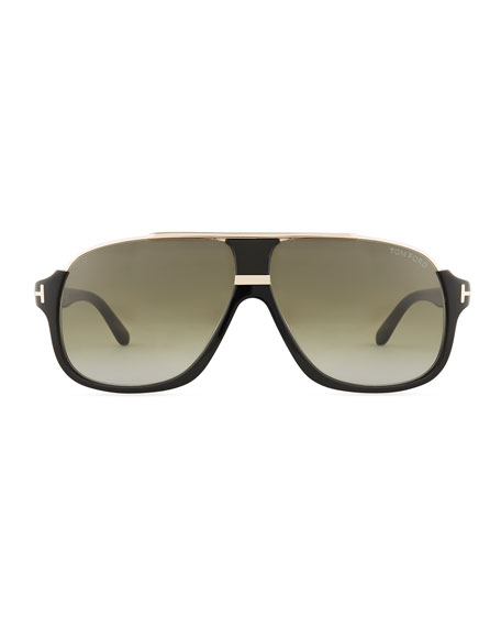 Image 2 of 3: Elliot Universal-Fit Aviator Sunglasses, Shiny Black/Rose Golden