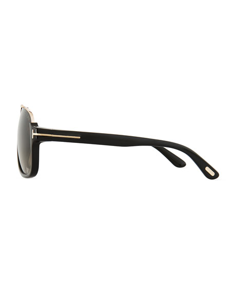 Image 3 of 3: Elliot Universal-Fit Aviator Sunglasses, Shiny Black/Rose Golden