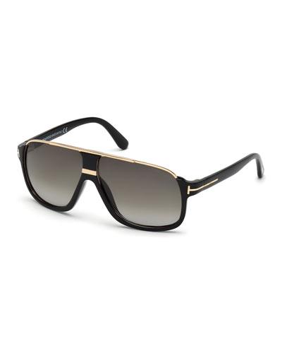 Elliot Universal-Fit Aviator Sunglasses  Shiny Black/Rose Golden