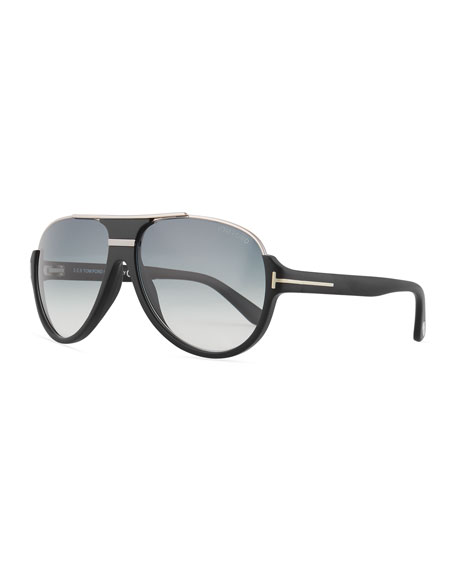Dimitry Half-Rim Aviator Sunglasses, Matte Black/Shiny Dark Ruthenium/Gradient Blue