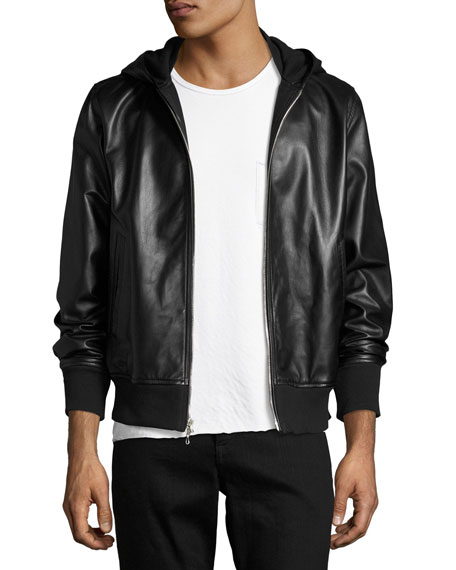 Rag & Bone Men's Christopher Black Leather Hooded