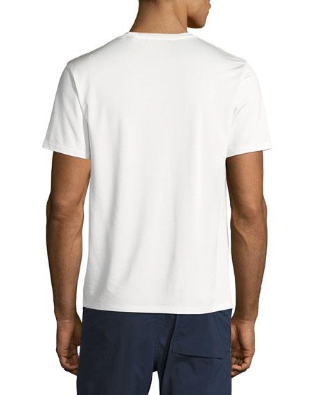 New Clay V Plaito Silk-Cotton Short-Sleeve T-Shirt, Ivory