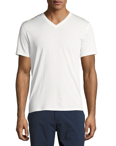Theory New Clay V Plaito Silk-Cotton Short-Sleeve T-Shirt, Ivory