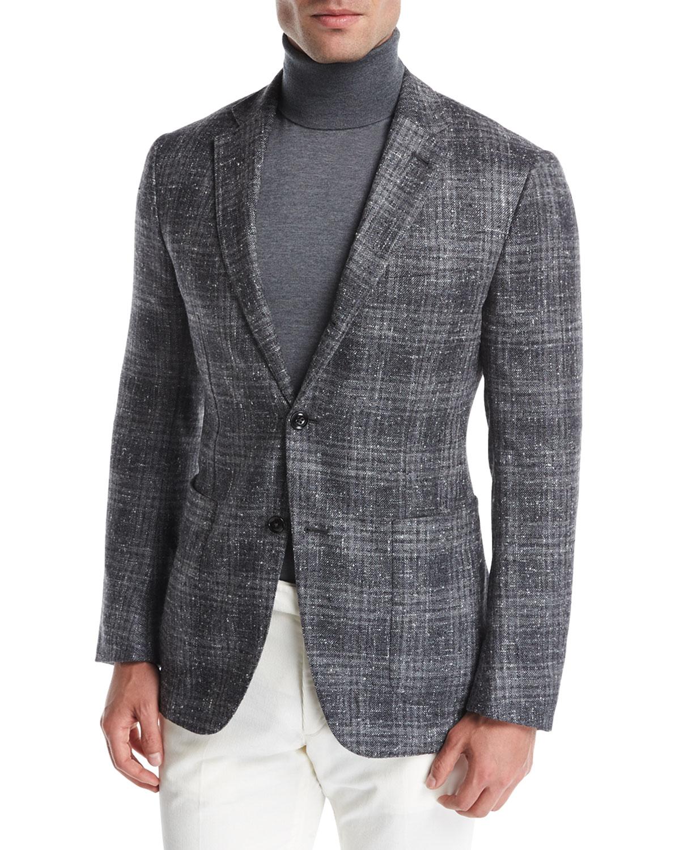 Ermenegildo Zegna Donegal Plaid Silk Wool Cashmere Sport