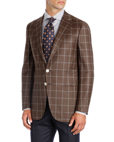 Windowpane Wool Two-Button Sport Coat