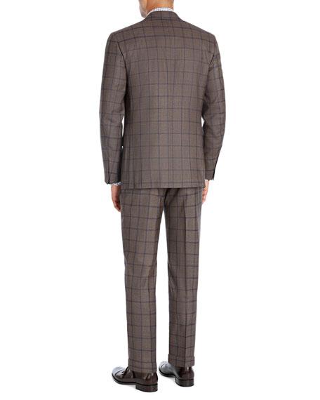 Windowpane Super 140s Wool Two-Piece Suit, Light Brown/Blue