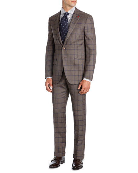 Windowpane Super 140s Wool Two-Piece Suit, Light Brown/Blue